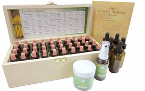 A Bach Flower Remedy set with bottles, Revival Remedy, cream & book