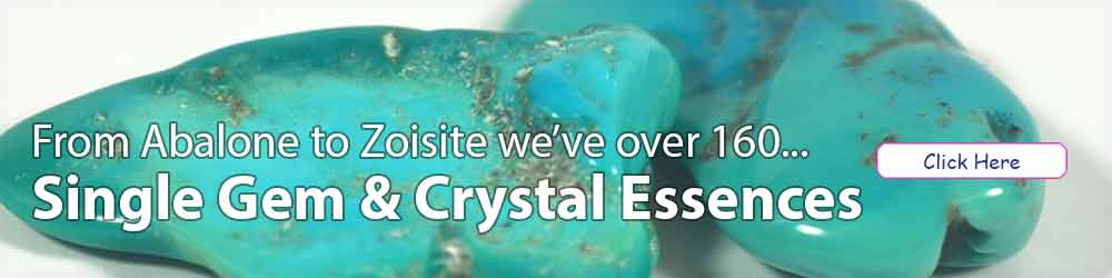 Turquoise pieces and text - Single Gem & Crystal Essences