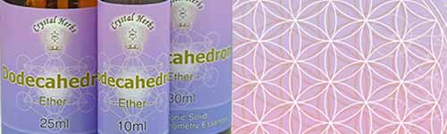 Platonic Solid Essences - close up of Dodecahedron with flower of life background