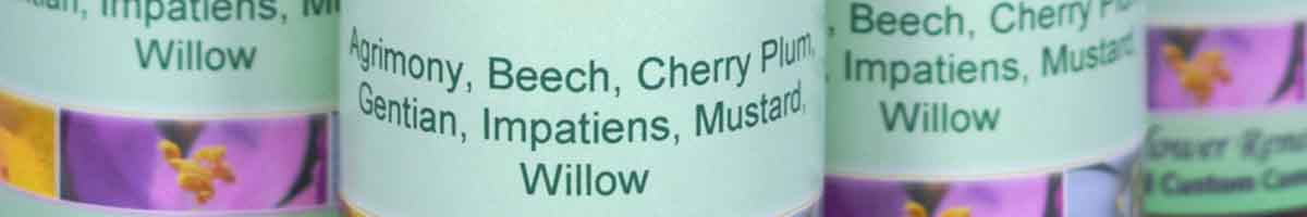 Bach Flower Remedy combination bottles - close up of label with Bach Flower Remedies listed